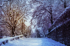 Road with lanterns in snow at night. Part of the pedestrian road going up with the curb and lanterns covered with snow at night Stock Image
