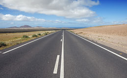 Road on Lanzarote. Road with beautiful landscape, Lanzarote Royalty Free Stock Photography