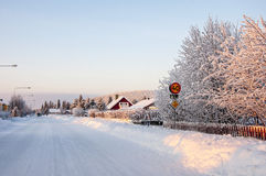 Road in Lappish village Royalty Free Stock Photo