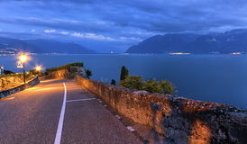 Road in Lavaux region, Vaud, Switzerland Royalty Free Stock Images