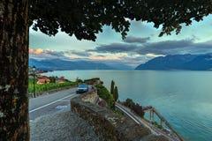 Road in Lavaux region, Vaud, Switzerland Royalty Free Stock Photos