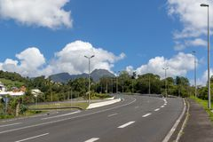 Road leading from Basse Terre town towards the active volcano La Soufriere in Guadeloupe