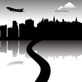 Road leading into a city vector illustration