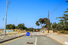 Road leading from Greek part to UN buffer zone, Cyprus Stock Image