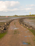 road leading onto island with tide out black water Maldon landscape royalty free stock photography