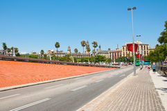 The road leading from Port Vell to Barceloneta. Stock Photo