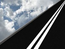Road leading into the sky. 3D Royalty Free Stock Photo