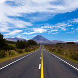 Road leading to active volcanoe Mt Ngauruhoe, NZ Royalty Free Stock Images