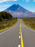 Road leading to active volcanoe Mt Ngauruhoe in NZ Stock Image
