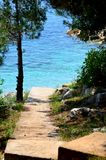 Road leading to a beach with clear water Royalty Free Stock Image