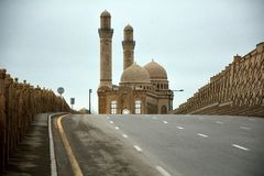 Road leading to Bibiheybat mosque, Azerbaijan Stock Images