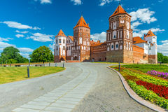 The road leading to the Castle of Mir in Belarus. Mir Castle - fortification and residence in the urban village World Korelichi district of the Grodno region Royalty Free Stock Photos