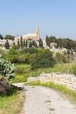 Road leading to cemetery in Malta Stock Photo