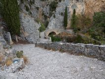Stairway leading to a chapel. The road leading to the chapel Notre-Dame de Beauvoir in the French town of Moustiers-Sainte-Marie stock images