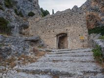 Stairway leading to a chapel. The road leading to the chapel Notre-Dame de Beauvoir in the French town of Moustiers-Sainte-Marie stock photos