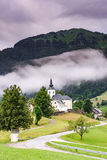 Road leading to Church of saint Nikolaja in Sorica, Slovenia.  royalty free stock image