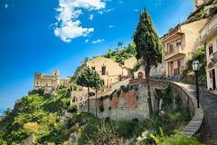 Road leading to the Church of St. Nicolo in Savoca Stock Images