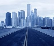 Road leading to a city Stock Photography