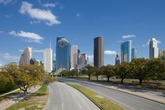 Road leading to Downtown Houston Skyline Stock Images