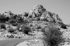 A road leading to El Torcal, Andalusia Royalty Free Stock Images