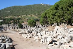 Road leading to Ephesus Stadium. This road leads to the large stadium in Ephesus where people rioted in anger to the message of St. Paul see Acts 19:23-41. This stock photo