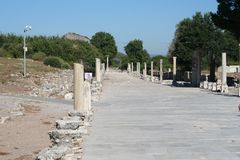Road leading to Ephesus Stadium. This road leads to the large stadium in Ephesus where people rioted in anger to the message of St. Paul see Acts 19:23-41. This royalty free stock image