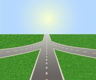 Road leading to horizon and sunlit sky. Illustration of empty highway with road junction. Road leading to horizon and sunlit sky. Vector is perfect to stock illustration