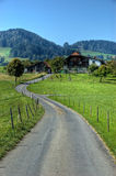 Road Leading To A House. An asphalt road leading to a house in a green valley with blue skies. In Switzerland royalty free stock image