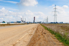 The road leading to a large factory Stock Images