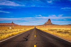 Road leading to Monument Valley in Utah, USA stock photo