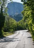 The road leading to the mountain monastery stock image
