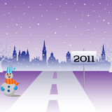 Road leading to the New Year. Abstract colorful illustration with a road leading straight into the New Year. New Year theme Royalty Free Stock Photos