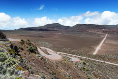 On the road leading to the`piton de la fournaise` volcano on réunion island Stock Photography