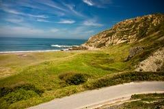 Road leading to sandy azkorri beach Royalty Free Stock Images