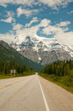Road leading to snowy mountain Stock Images