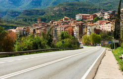 Road leading to the town of Monistrol de Montserrat. Province of Stock Image