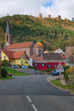 Road leading to typical French village Royalty Free Stock Image