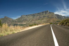 Road leading toward Table mountain Royalty Free Stock Image