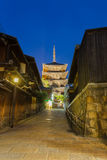 Road Leading Yasaka No To Pagoda Blue Hour Kyoto Royalty Free Stock Image