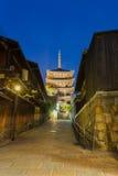 Road Leading Yasaka No To Pagoda Blue Hour Kyoto Royalty Free Stock Image