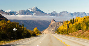 Road Leads Down Fall Season Open Road Alaska Royalty Free Stock Photo