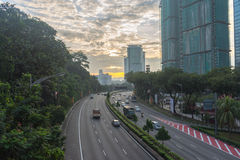 Road leads to a building and sunrise Royalty Free Stock Photos