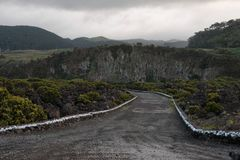 Dirt Road leading to Hills in Azores stock photography