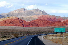Road leads to Las Vegas. Red Rock Canyon Near Las Vegas Nevada Stock Photography