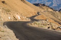 Road in Leh Ladakh,India. Leh, a high-desert city in the Himalayas, is the capital of the Leh region in northern India's Jammu and Kashmir state stock images