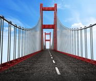 Road level view from suspension bridge . 3D illustration.  Stock Images