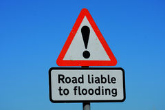 Road liable to flooding sign Royalty Free Stock Images