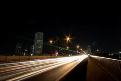 Road of life. One night on Bangkok ,Thailand The river Chaophaya have be nice night Stock Image