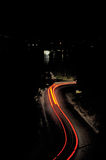 Road with light trails Royalty Free Stock Images