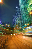 Road light trails on streetscape buildings backgrounds in HongKo Royalty Free Stock Photography